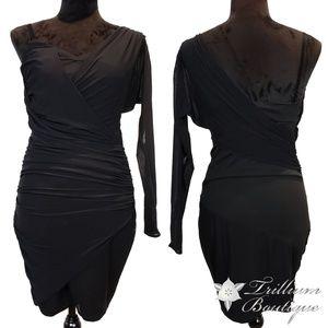 ZARA Woman Black Mesh Asymmetrical Dress Medium